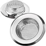 Keukenspoelbak Strainer RVS Metalen afvoerfilter Badkamer Basin Plugghole Filter met Anti-Clogging Gaten en Grote Brede Rand