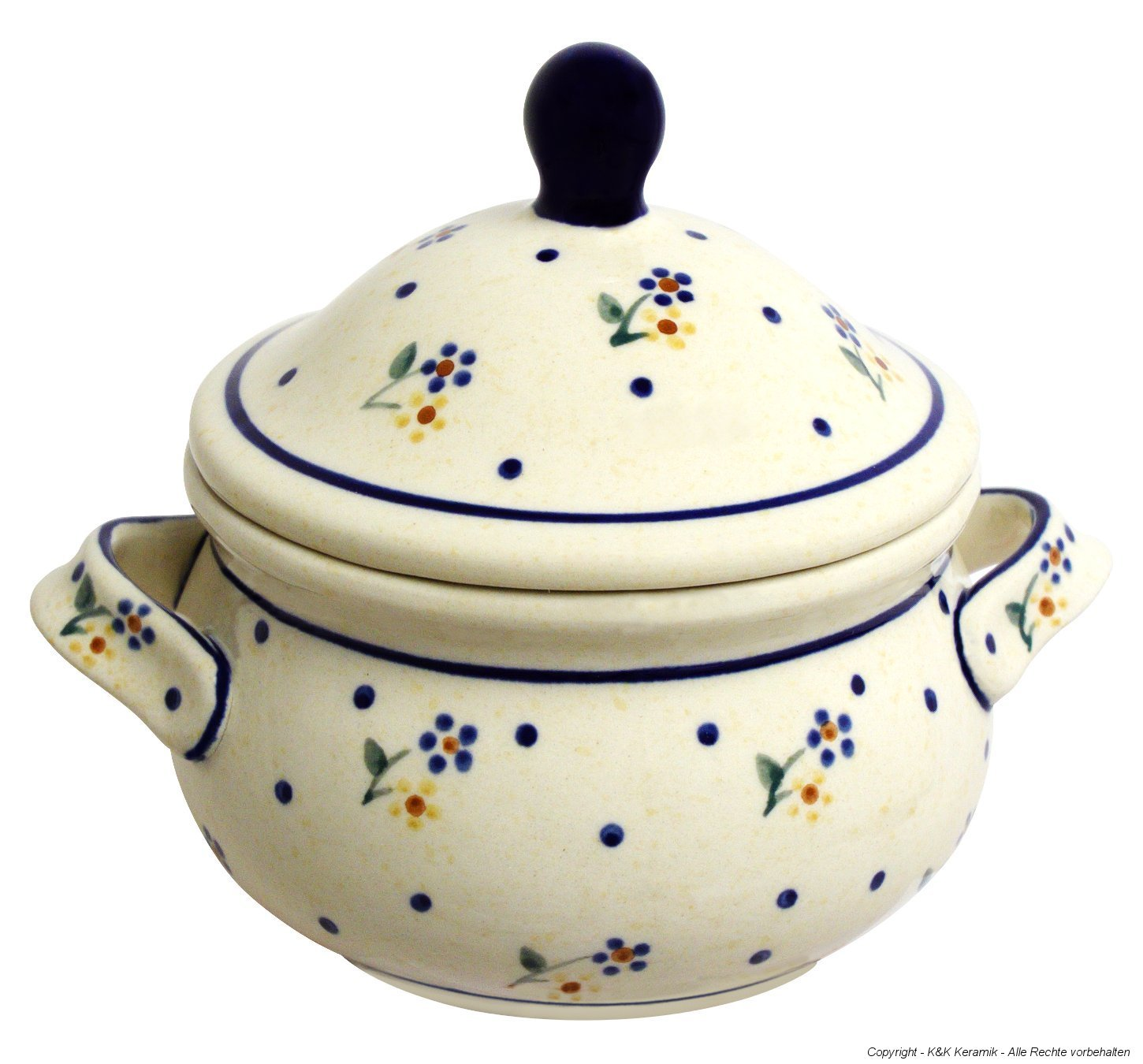 Hand-Decorated Polish Pottery Marmelade Pot Wax Pot/0.45 Litre Honey Pot Design Soup Mug 111