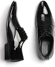 DEEKADA Men's Black Patent Leather Formal Shoes for Men's + Party Wear Formal Shoes