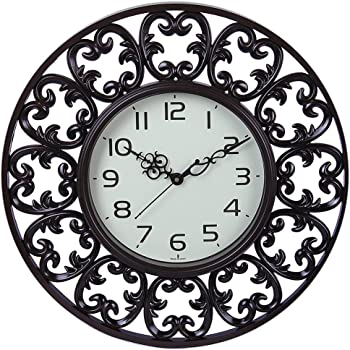 sns creations Mantree Designer Round Wall Clock Plastic Brown (41x41 cm)