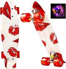 Creine Mini Cruiser 55cm Skateboard Komplett Board mit LED Leuchtrollen Kugellager in Mehr Farben für Erwachsene Kinder Jungen Mädchen