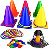unanscre 31PCS 3 in 1 Carnival Outdoor Games Combo Set for Kids, Soft Plastic Cones Bean Bags Ring Toss Game, Gift for Birthd