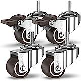 GBL® 4 Zwenkwielen 25mm Bout M6x20mm TPR Rubber | Zwaarlastwielen 40KG - Meubelzwenkwielen Voor Meubels | Zwenkwieltjes voor