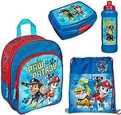 Familando Paw Patrol Rucksack Set 4tlg. mit Brotdose und Trinkflasche für Kindergarten / Krippe PPUT7601