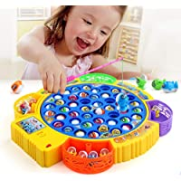 Karp Fishing Game Electronic Musical Rotating Toy With 45 Fish 4 Fishing Rods - Blue