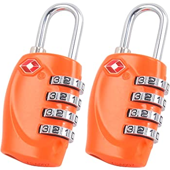 - LIFETIME WARRANTY 4-dial Combination Travel Suitcase Luggage Bag Code Lock 2 x TSA Security Padlock SILVER