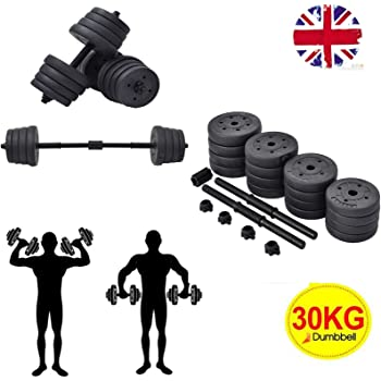 3ad8f993ce7 COSTWAY 2 in 1 Dumbbell   Barbell Set 30KG Body Revolution Vinyl Bar Home  Gym Fitness Free Weights Non-slip Training - Adjustable Free Weights