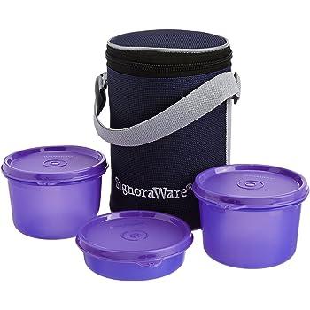 Signoraware Executive Medium Lunch Box with Bag, 15cm, Deep Violet