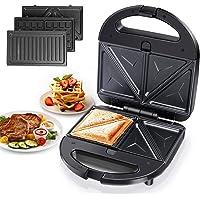 Aigostar Robin – Appareil 3 en 1 : sandwich, gaufrier et grill. 750 watts, plaques antiadhésives amovibles, poignée…