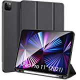 DUX DUCIS Case for iPad Pro 11 inch 2021 (3rd Gen) with Pencil Holder, Soft TPU Back Slim Trifold Protective Case Cover for i
