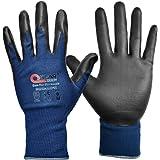 3 prs pack marine blauw scherm aanraakbare werkveiligheidshandschoenen, schuim nitril rubber palm gecoat, algemeen doel,