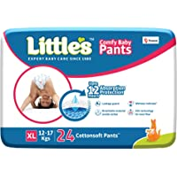 Little's Baby Pants Diapers with Wetness Indicator and 12 Hours Absorption |Extra Large 24 Count|