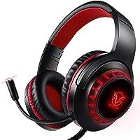 Pacrate PC Gaming Headset für PS4 Xbox One PC, Rauschunterdrückung Over-Ear LED PS4 Headset - Kristall Stereo-Klang Gamer Kopfhörer PS4 mit Sensiblen Mikrofon & Intensiven Bässen für Laptop Mac