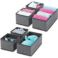 mDesign organisateur de tiroir (lot de 6) – boite de rangement respirante pour chaussettes, lingerie, etc. – rangement…