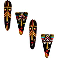 New Life Terracotta Wall Hanging Tribal Mask Combo, 20 cms, Multicolour -Set of 4 Pieces