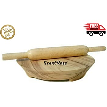 ScentRose® Premium Quality Wooden Chakla with Belan Rolling Board Rolling Pin | Wooden Board | Pure Wood