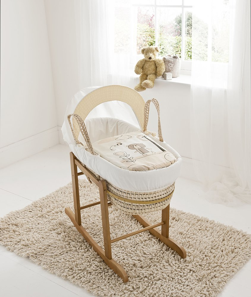 Beary Nice Cream Palm Moses Basket & Deluxe Natural Rocking Stand Elegant Baby Suitable from newborn for up to 9kg, this Moses Basket uses Easy-care Poly Cotton with a soft padding surround Suitable from newborn to 9 months It also includes a comfortable mattress and an adjustable hood perfect to create a cosy sleeping space for your precious little one 1