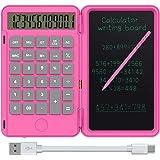 NEWYES Tavoletta da scrittura LCD da 6,5 pollici e calcolatrice di base Calcola e prendi appunti (Rosa)