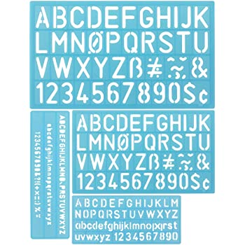 3ceb4e8b02 DECARETA 4 Pezzi Kit di Stencil per Lettere e Numeri, Lettera di Stencil, Alfabeto  Stencil Lavabile, Stencil Numeri, Normografo per Studenti, Fai da Te, ...