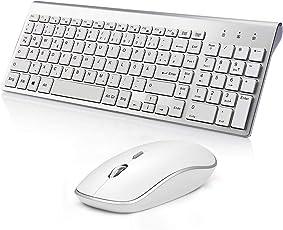 Tastatur Maus Kabellose,Kompakte Wireless Tastatur in Vollständiger Größe mit Nummerischer Tastatur und Stream Line 2400 DPI Optische Kabellose Maus für PC, Desktop, Computer, Notebook, Laptop, Windows XP/Vista/7/8/10 (QWERTZ Layout) by BJL - Silber + Weiß