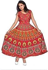Mahi Fab Women's Cotton Printed Fashionable Long Length Jaipur Skirt Dress, Free Size (MF_Dress_04, Red)