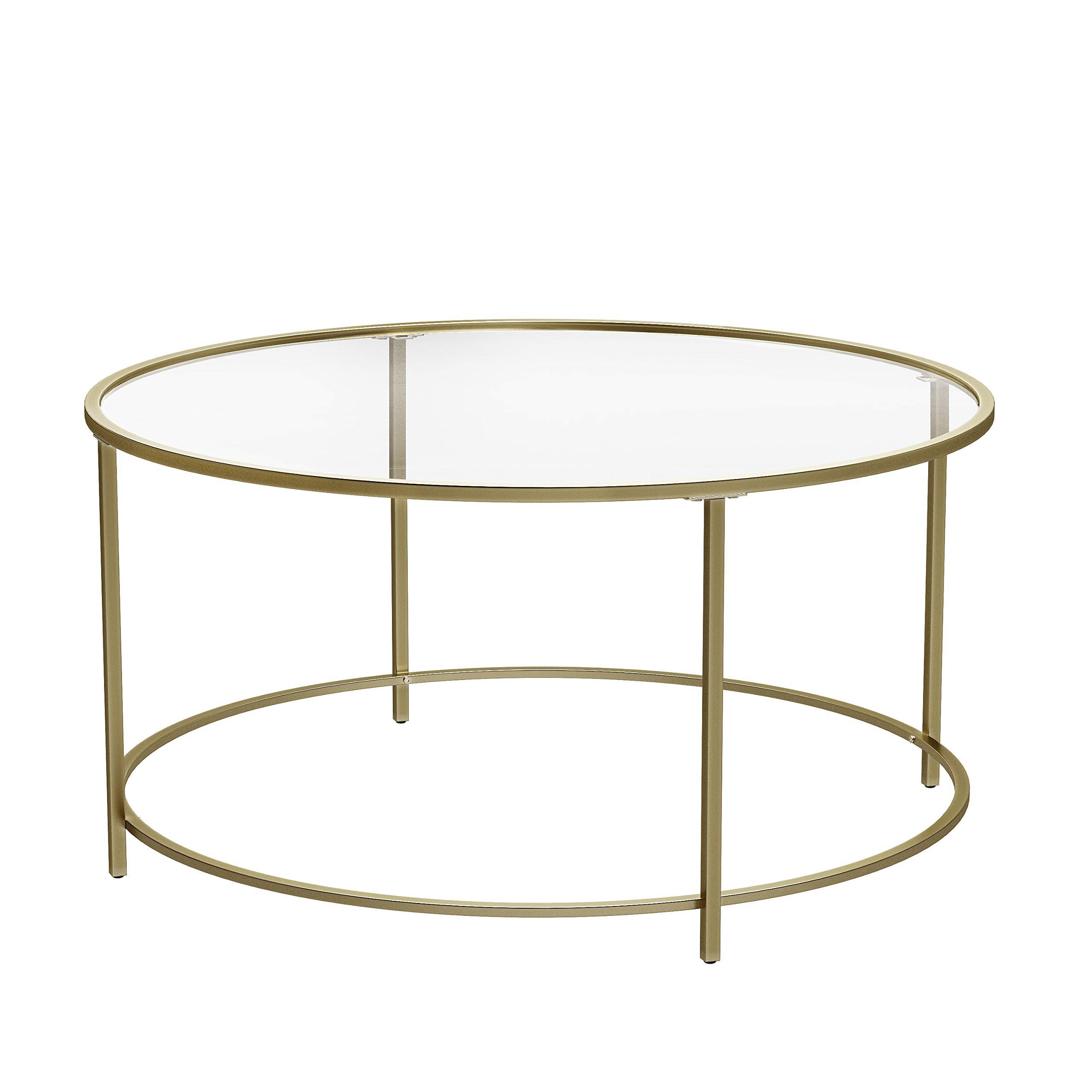 Vasagle Table Basse Ronde Plateau En Verre Trempe Armature Metallique Doree Table De Salon Bout De Canape Robuste Deco Royale