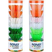 NONGI Tricolors Combo Badminton Feather and Plastic Shuttle Corks    Made in India    Multicolor - Medium Speed - 78