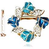 Merdia Da Donna Brooch Della Clip Della Sciarpa Del Fiore Bella Anello Fibbia Sciarpa Con Cristallo Creato - Blu