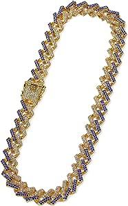 Aeici Collana Punk Uomo Larghezza 15mm Collana A Catena in Oro Collana da Uomo 16-24 inch
