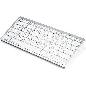 Wireless Bluetooth Tastatur / Keyboard im Slim Design | Bluetooth V 3.0 | Apple und PC | Windows 7 + 8 / Linux / Mac OS X | Notebook / Laptop / Netbook / Mac Book | Tablets / Apple iPad / Samsung Galaxy Tab2 / Galaxy Note | Smart Phones / Android / Iphone | weiß