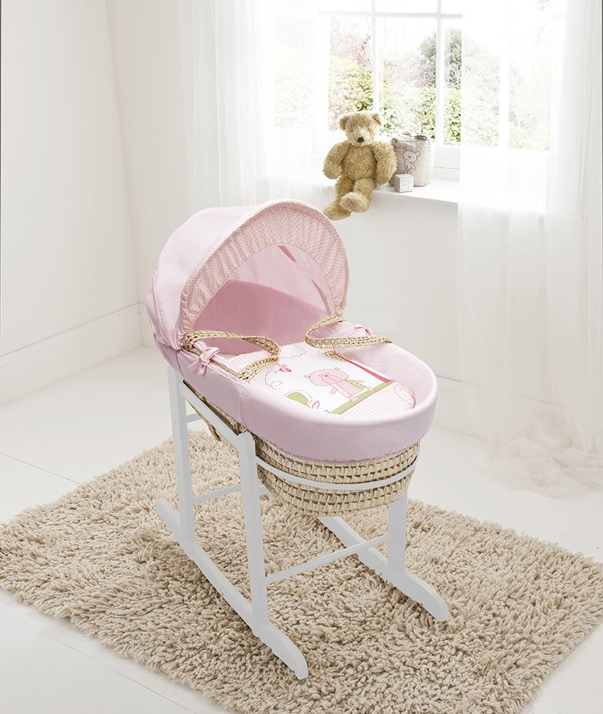 Beary Nice Pink Palm Moses Basket & Deluxe White Rocking Stand Elegant Baby Suitable from newborn for up to 9kg, this Moses Basket uses Easy-care Poly Cotton with a soft padding surround Suitable from newborn to 9 months It also includes a comfortable mattress and an adjustable hood perfect to create a cosy sleeping space for your precious little one 1