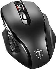 VICTSING Neu kabellose Maus Wireless Mouse, 2.4G 2400 DPI 6 Tasten Optische Mäuse mit USB Nano Empfänger Für PC Laptop iMac MacBook Microsoft Pro, Office Home - Groß/Schwarz
