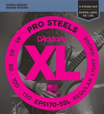 D'Addario Cordes pour basse 5 cordes D'Addario ProSteels EPS170-5SL, Light, 45-130, cordes extra-longues