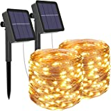 [2 Pack] Guirnaldas Luces Exterior Solar, Litogo Luces Led Solares Exteriores Jardin 12m 120 LED 8 Modos Cadena de Luces Deco