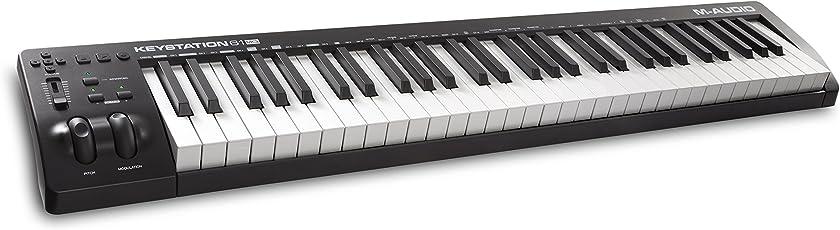 M-Audio Keystation 61 MKIII Kompakter 61-Tasten MIDI Keyboard Controller mit zuweisbaren Reglern, Pitch/Modulation Rädern, Plug-And-Play (Mac/PC) Konnektivität und Software Production Suite