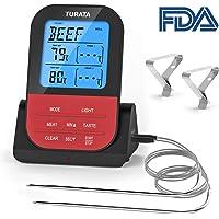 TURATA Bratenthermometer, Fleischthermometer Kabellos BBQ Bratenthermometer Digital Bluetooth Grillthermometer Doppelsonde Elektronische Küche Temperatur