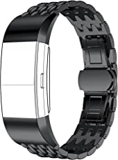 Shopizone Metal Replacement Stainless Steel Watch Band Strap Bracelet for Fitbit Charge 2 (Black)