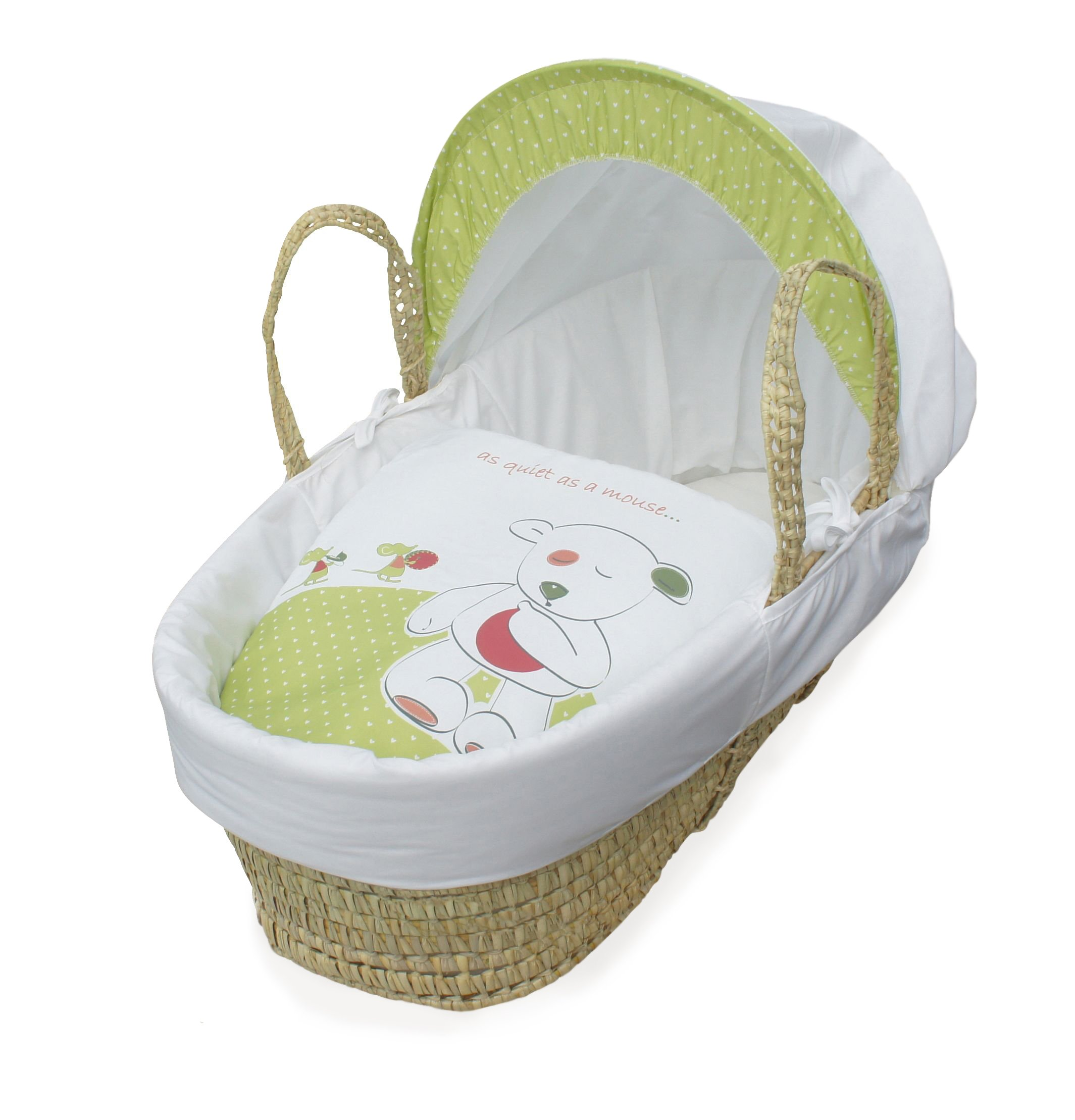 Quiet Little Mouse On Palm Moses Basket & Deluxe White Rocking Stand Elegant Baby Suitable from newborn for up to 9kg, this Moses Basket uses Easy-care Poly Cotton with a soft padding surround Suitable from newborn to 9 months It also includes a comfortable mattress and an adjustable hood perfect to create a cosy sleeping space for your precious little one 2