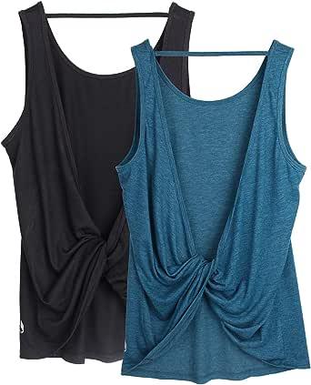 icyzone Débardeur de Sport Femme Fitness Yoga Shirt Décontracté Tank Top Dos Ouvert, Paquet de 2