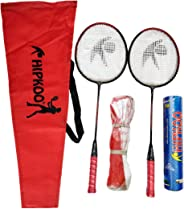 Hipkoo Sports HXBRSET_RDXSCOCKXNET Aluminum Full Badminton Kit (2 Racket, Pack of 10 Shuttlecocks and Net) Badminton Kit (Mu
