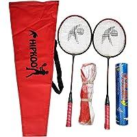 Hipkoo Sports HXBRSET_RDXSCOCKXNET Aluminum Full Badminton Kit (2 Racket, Pack of 10 Shuttlecocks and Net) Badminton Kit…