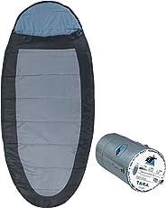 10T Schlafsack Tara -13° Warm Weich 1900g XXL Ei-Form Mumienschlafsack 220x100 Grau/Blau 250g/m²