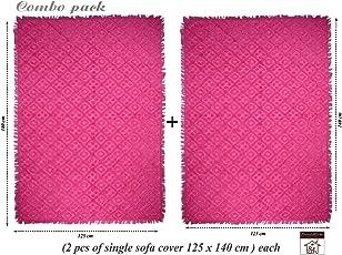 Saral Home Soft Cotton Unique Design Tufted Throw/Sofacover Set of 2 Pc -140x125 cm