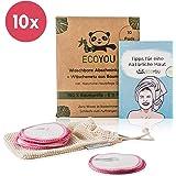 EcoYou Abschminkpads Waschbar aus BIO-Baumwolle 10 St. PINK ♻ Zero Waste Wattepads + WÄSCHENETZ aus Baumwolle ♻ Make Up Entferner Pads + Hautpflege GUIDE ♻ Wiederverwendbare Pads