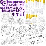 NuyoahOutils de Décoration de Gâteau Accessoire Pate a Sucre Patisserie 87pcs Fondant Outils Ensemble avec Emporte Pièces Le