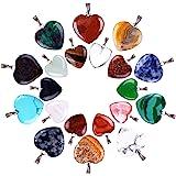 20 Pezzi Ciondoli Pietra A Forma di Cuore Fai da Te Cristallo, 2 Diverse Dimensioni, Colore Assortito