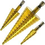 Hiveseen 3 Stuks Stappenboor, Kegelboor, Trapboor, HSS Stalen, 4-12/20/32 mm, Titanium Gecoat, Hex Shank, Hogesnelheid en Gro