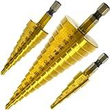 Hiveseen Kit 3 Punte Coniche, Fresa Conica Trapano a Gradini, HSS Titanium, Misure 4-12/4-20/4-32, Buco Cutter a Scalini…