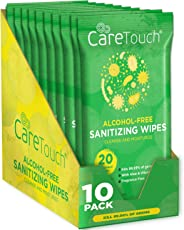 Care Touch Alcohol Free Hand Sanitizer Wipes - 10 Travel Packs of 20 Count Each - Antibacterial Moisturizing Sanitizing Wipe