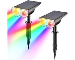 Linkind Crépuscule solaire coloré vers le bas des lumières de jardin, lampe solaire à capteur de lumière multicolore colorée,